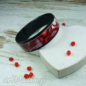 ręcznie robiona bransoletka w odcieniach czerwieni i czerni, bransoletka, sylwestrowa