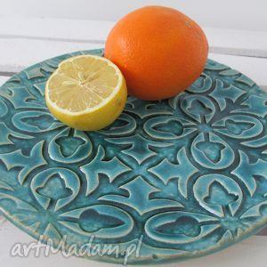 turkusowa patera, ceramiczny, talerz, turkusowy, niebieski ceramika, święta prezent