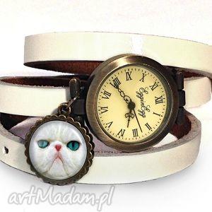 Prezent Kot perski - Zegarek/bransoletka na skórzanym pasku, zegarek, bransoletka