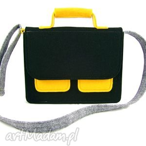 mess gray-black-yellow, torebka, listonoszka, filc na ramię torebki, oryginalny