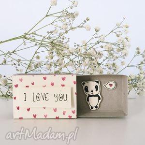 pudełeczko pozapałkowe, love, panda, kartka, serduszka, podziękowanie