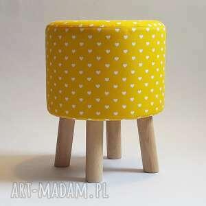 pufy pufa żółte serduszka , puf, stołek, taboret, ryczka