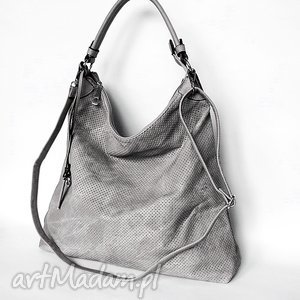 duża torba na ramię szara, torba, torebka torebki