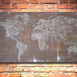 obrazy obraz 96x54 - mapa świata 3d 01 ręcznie malowana, obraz, mapa