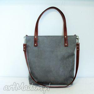 shopper bag, szara, torba, modna, szyta, wygodna torebki, wyjątkowy prezent