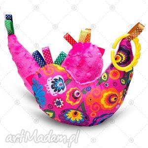 kurka przytulanka sensorek maskotka minky - folk na fuksji, dla dziecka