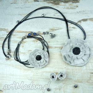komplet biżuterii - maki w odcieniach szarości, komplet, mak, bransoletka, kwiaty