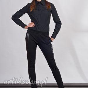 Spodnie, SD102 czarny, legginsy, lampasy, skóra, rurki, kieszenie, czarne