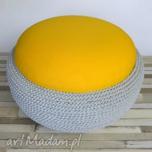 Siedzisko Fjerne Tire szary bawełniany sznurek, żółty, siedzisko, puf, dom, wygoda