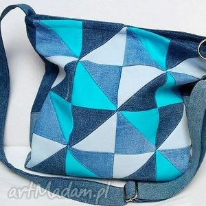 torebka jeans turkusowy patchwork, torba, modna, ekotorba