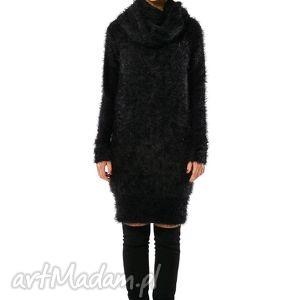 Ryszard Black - czarny, długi sweter z szalem, sweter, puszysty, komin