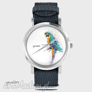 zegarek, bransoletka - papuga turkusowa grafitowy, bransoleta, pleciony