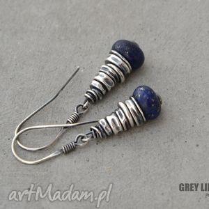 lapis lazuli kolczyki, srebro, lapis, lazuli, minerały, surowe biżuteria