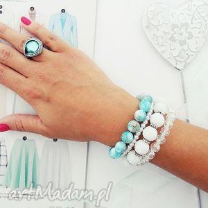 bransoletki blue heaven set, bransoletki, zestaw, koralikowe, zkoralików, handmade