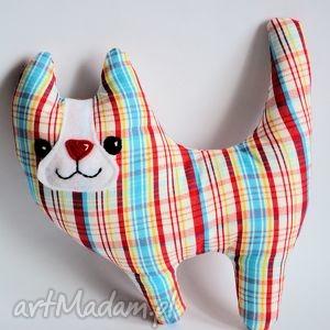 kociamber w kolorową kratę, kot, turkus, niemowlę, dziecko, zabawka, maskotka