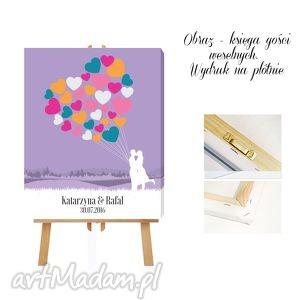 księgi gości obraz - ksiega goście 40x50 cm serce pełne balonów , księga