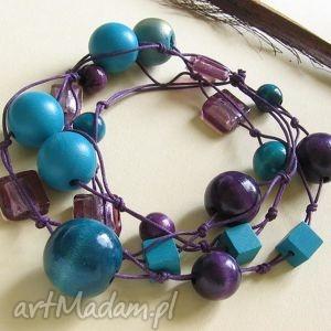 Violetta - długie korale, długie, naszyjnik, drewno
