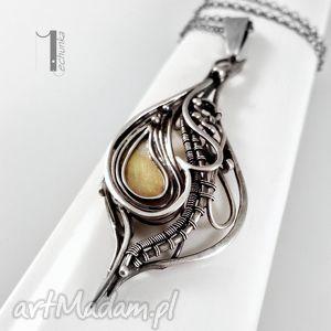 naszyjniki hidden srebrny naszyjnik z miedzią, wirewrapping, srebro, 925, miedź