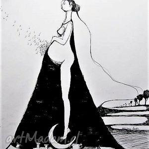 adriana laube art grafika wykonana piórkiem ciąża artystki plastyka adriany