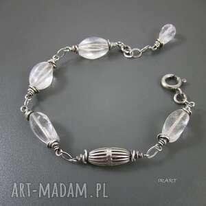 bryłki kryształu - bransoletka, srebro, oksydowane, kryształ biżuteria