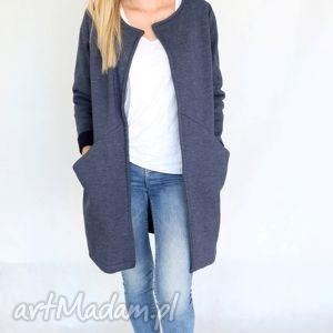 płaszc długi narzutka s - m jeans, bawełna, dzianina, wiosna, eko ubrania