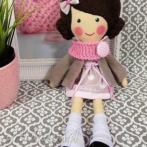 malowana lala małgorzata z wełnianym szalikiem, lalka, zabawka, przytulanka, prezent