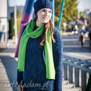 granatowo-zielony melanżowy sweter - arthermina, sweter, melanż, wełna, zieleń