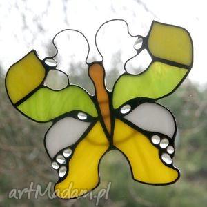 cytrynek kropelkowy, witraż, motyl, zawieszka, dekoracja, okno, wiosna, święta