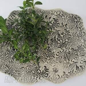 naturalny dekoracyjny talerzyk, talerz, ceramiczny, naturalny, ekologiczny, beżowy