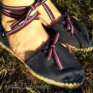 buty espadryle damskie marine granatowe z paseczkami, espadryle, buty, marynarskie