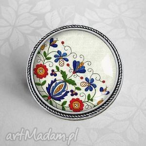 broszka casube, kaszubski, etno, styl, etniczna, ludowa, ludowy biżuteria