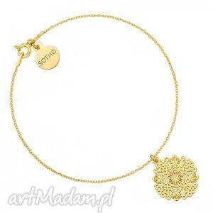 bransoletki złota bransoletka z rozetką, modna, bransoletka, zawieszka, srebro
