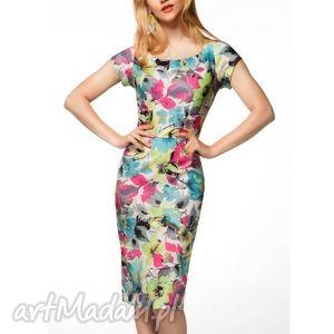oryginalny prezent, sukienka dita ii midi julia , sukienka, midi, ołówkowa, kwiaty