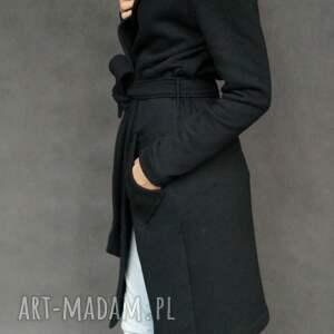 Black Hood płaszcz, dresowy, kaptur, kieszenie, czarny, wiązany