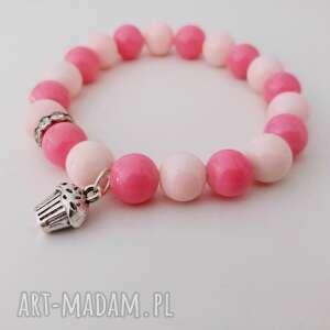 bransoletka koralikowa słodkość, bransoletka, różowa, koraliki, koralikowa, babeczka
