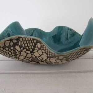 ceramika turkusowa głębia ceramiczna misa, miska, ceramiczna, koronkowa