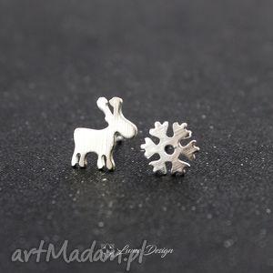 kolczyki zimowe srebrne wkrętki - renifer i płatek śniegu, zima, śnieg