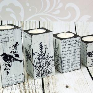 świeczniki komplet 4 świeczników- birds, świeczniki, komplet, dekoracja, schabby