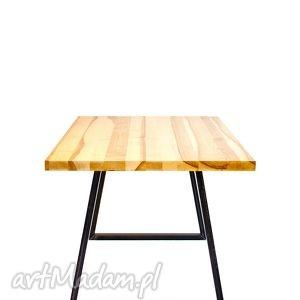 stół iroko industrialny, do loftu, minimalistyczny, jesion i stal, kolor naturalny