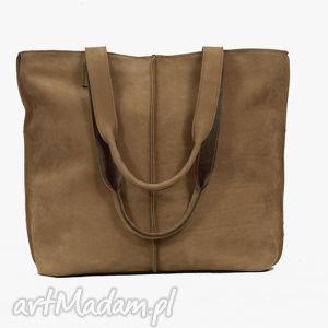 Prezent jasno brązowa torba ze skóry nubukowej, torba, torebka, handmade, wygodna