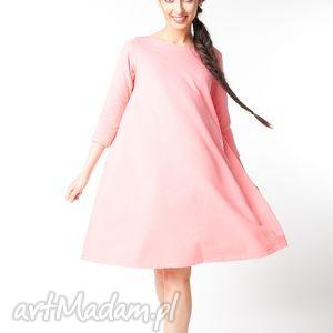 sukienki s m sukienka typu klosz wiosenna koralowy róż, bawełna, dzianina, wiosna
