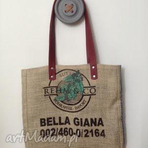 prezent na święta, torba bella giana, len, skóra, juta torebki