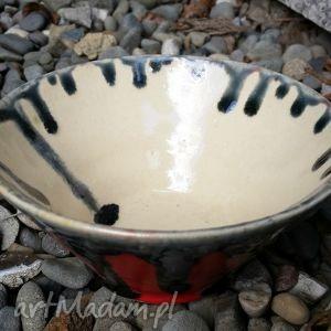 miseczka czerwono-czarna, miska, miseczka, ceramika, glina ceramika dom