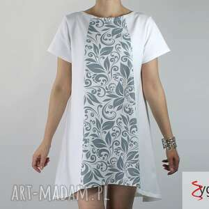 sukienki tint sukienka tunika dresowa z nadrukiem, sukienka, tunika, dzianina