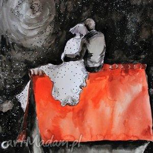Grafika akwarelami i piórkiem Na dachu artystki plastyka A. Laube, akwarela, miłość