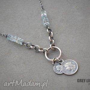 akwamaryn heishi naszyjnik v 2, srebro, 925, moneta, naszyjniki biżuteria