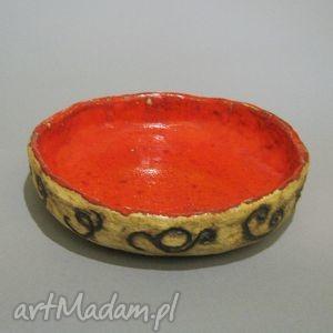 misa czerwień i ornamenty , misa, wnetrze, dekoracja, użyteczna, ceramika, handmade