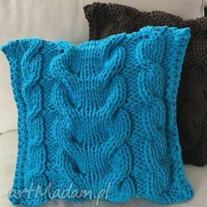 poduszki poduszka ze sznurka bawełnianego turkus 40x40 cm, poduszka, poszewka