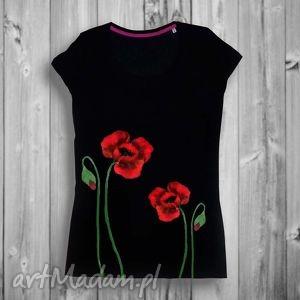 ręcznie malowana artystyczna bluzka z bawełny - maki czerwone, kwiatki, maki, czarna