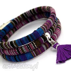 bransoletka boho magnetoos titicaca z chwostem, boho, etniczny, tkanina, chwost